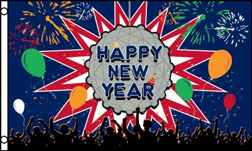 Happy New Year  3x5 Polyester Flag