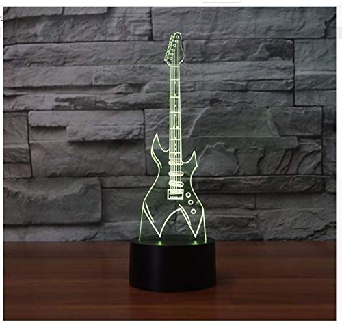 7 colores cambiantes 3D lámpara de mesa Led guitarra eléctrica instrumentos musicales luz nocturna Usb dormitorio iluminación decoración del hogar música ...