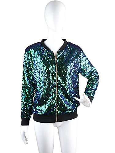 Mermaid Front Zip with Womens Ribbed Sequin Jacket Anna Cuffs Kaci Sleeve Long XPSW7qF