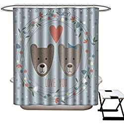 longbuyer Floral Shower Curtain Valentines Day Card Template Funny Cartoon Bears Flowers and Hearts Shower CurtainW69 x L84