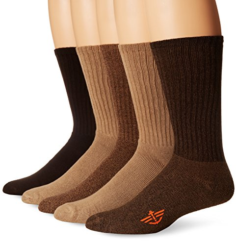 Dockers Men's 5 Pack Cushion Comfort Sport Crew Socks, Khaki Assorted, Shoe Size: 6-12 Size: 10-13 ()