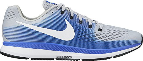 NIKE Men's Air Zoom Pegasus 34 Running Shoe Wide (4E) Wolf Grey/White/Racer Blue Size 10 Wide ()