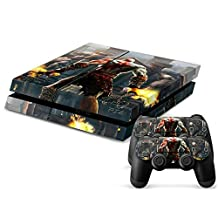 Survival, Action, and Adventure Games Designer Vinyl Skin for Gaming Console and Free Controller Sticker Decal for PS4 (War God with Fire and Chains)