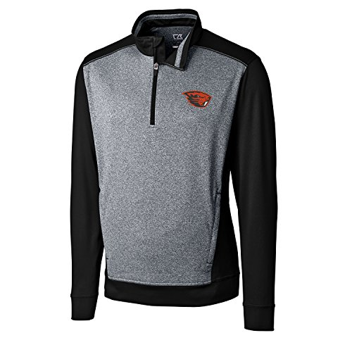 Cutter & Buck NCAA Oregon State Beavers Adult Men CB Drytec Replay Half Zip, 3X-Large, Black