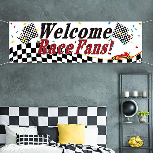 (Blulu Racing Party Decorations, Welcome Race Fans Banner Racing Party Suppliers Race Car Banner Garland Backdrop Photo Booth Props Racing Car Birthday Party Decor)