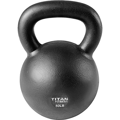 Titan Fitness Cast Iron Kettlebell Weight 80 lb Natural Solid Workout Swing