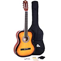 Rio Sunburst 39'' 4/4 Full Size Acoustic Nylon Classical String Guitar Package Pack - New (Sunburst)