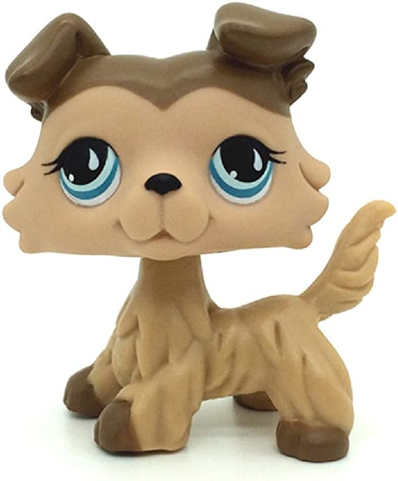 Littlest Pet Shop Puppy Tear Drop /& Blue Eyes Brown White Dog Great Dane Figure