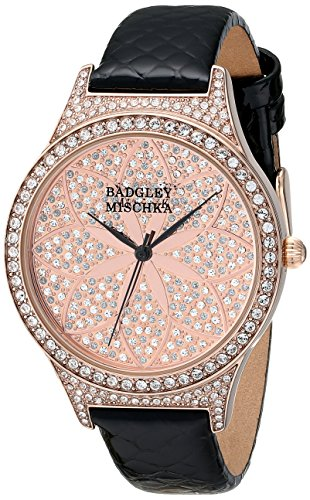 badgley-mischka-womens-ba-1348pkbk-swarovski-crystal-accented-black-leather-strap-watch