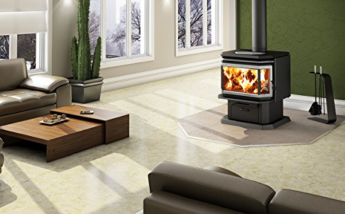 Osburn 2200 Wood Stove with Brushed Nickel Door Overlay and Brushed Nickel Louvre and Trivet Kit (Osburn Wood Stove)