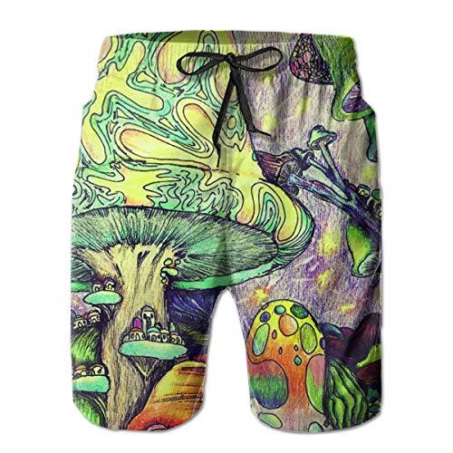 ASDGEGASFAS Mens Crayon Painting Mushroom Quick Dry Swim Trunks Bathing Suits with Mesh Lining Swimwear