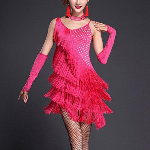 Sexy Della Ballo Del Partito Sera Rossa Da Delle Vestito Prestazioni Latino Ballo Donne Salsa Rosa Da Szpanda Tango Sala Paillettes Da Vestito Di TywY7Eqy
