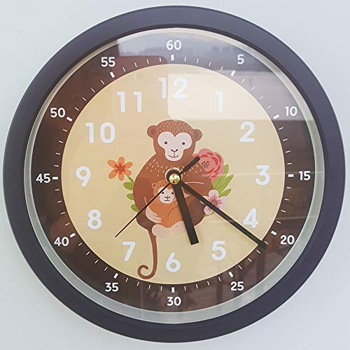 Bronzehouse Easy Read Time Teacher Wall Clock Silent & Non-Ticking Quartz Movement Learn to Tell The time Kids Clock Monkey