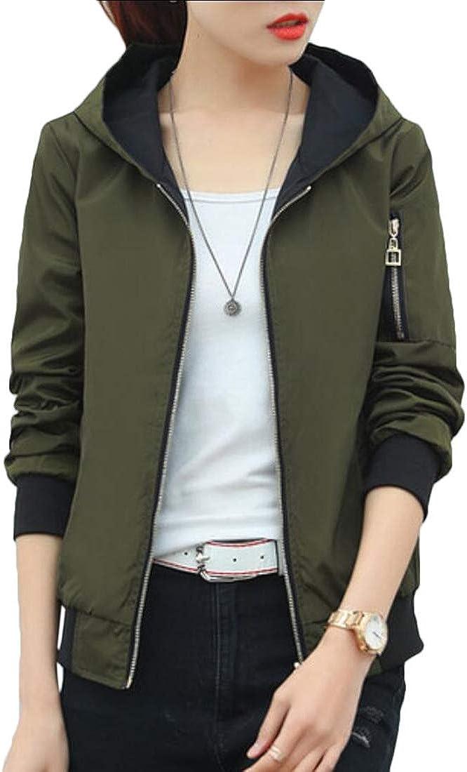 WSPLYSPJY Women Lightweight Reversible Hooded Windbreaker Jacket Sports Outdoor Outerwear