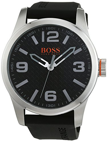 Hugo Boss Men's 47mm Black Silicone Band Steel Case Quartz Analog Watch 1513350