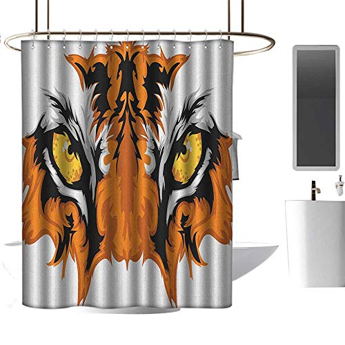 Colorful Shower Curtain Eye,Tiger Eyes Graphic Mascot Animal Face Bengal Cat African Safari Predator Theme, Orange Yellow Black,Eco-Friendly,Bathroom Curtain 36