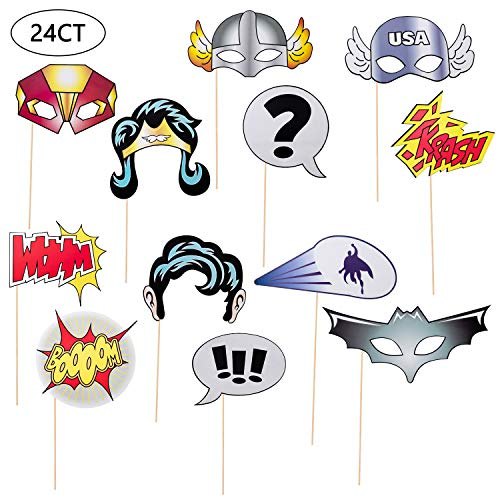 24Ct Photo Booth Props for Superhero Party Supplies and Super Hero Birthday Party/Wedding/Baby Shower Supplies Decorations ()