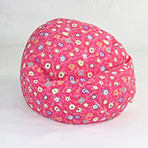 American Furniture Alliance Bean Bag Chair for Kids Pink Flower