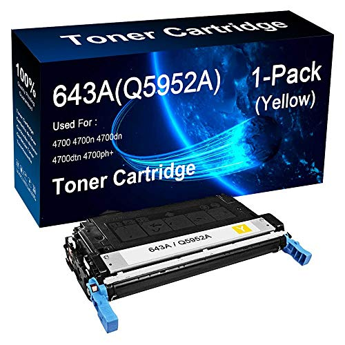 Compatible 1-Pack Yellow Q5952A 643A Toner Cartridge use for HP Color Laserjet 4700 4700n 4700dn Printer (10,000 Pages), by LOGTHER