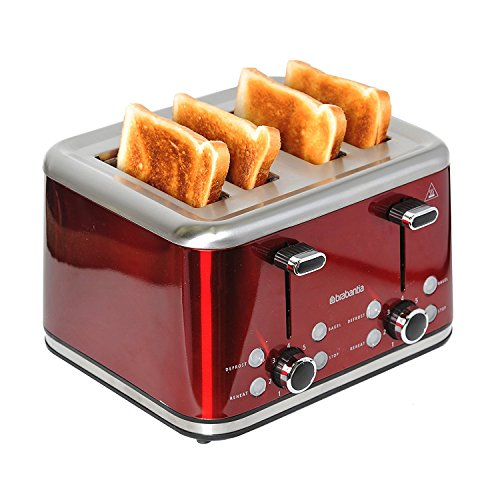 Brabantia BBEK1031-R 4-Slice Toaster, 1800 W, Red/Brushed Stainless Steel