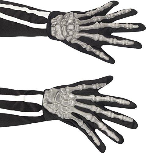 [Smiffy's Adult Unisex Skeleton Gloves, One Size, Black and White, 22149] (Men Skeleton Costumes)