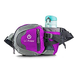 Waist Pack Running Bag Running Belt Runners Belt Bum Bag Fanny Pack Drink Pouch Chest Bag Sling Sports Water Resistant with Water Bottle (Not Included) Holder Drink Pouch for Hiking Cycling Camping Jogging Travel nylon fabric purple - by LC Prime®