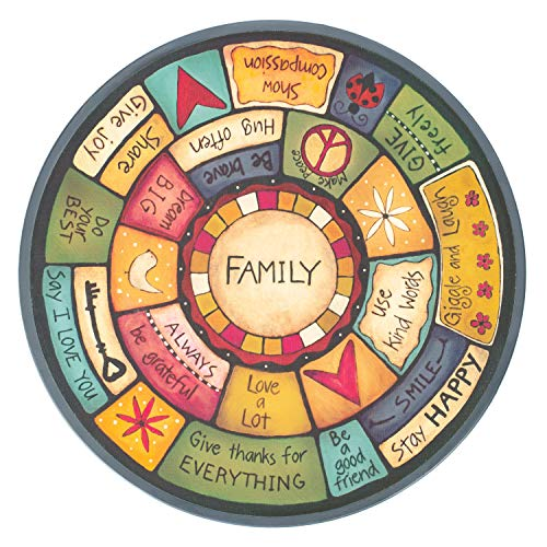 DEMDACO Family Values Love Kind Peace Multicolored 18 x 18 Wood Composite Lazy Susan (Susan Is What Lazy)