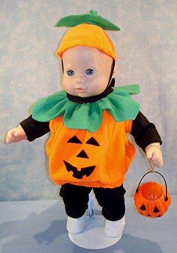 15 Inch Doll Clothes - Pumpkin Halloween Costume handmade by Jane Ellen to fit 15 inch baby dolls -