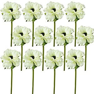 "Lily Garden 14"" Artificial Anemone Silk Flowers - Pack of 12 (White) 89"