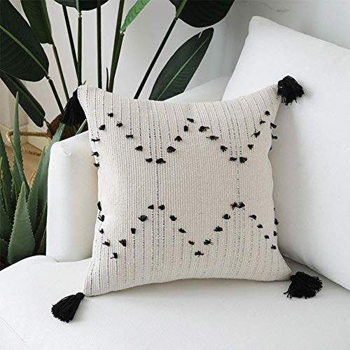 Bigcozy Tassels Boho Throw Pillow Cover - Square Decorative Pillows Hand Woven Moroccan Tribal | Neutral Beige with Black Geometric Pillow Case Pillowcase for Sofa Couch Bedroom 18x18 Inches