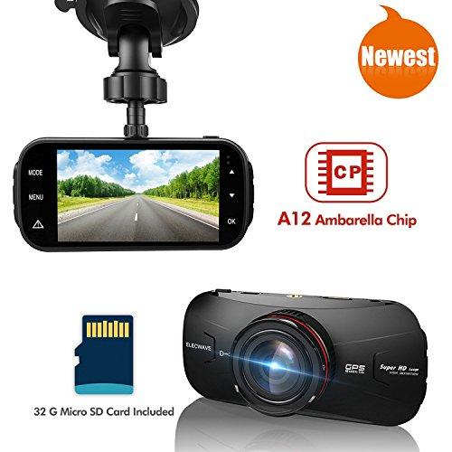 Car Dash DVR - Elecwave EW-D300 1440P 2K Ultra Full HD Car Dash Camera 170 Degree with 32GB Micro SD Card A12...
