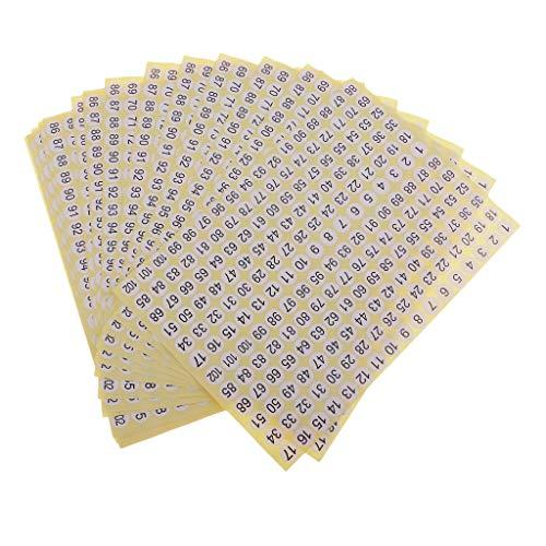 Baosity 15pcs Etiquetas Engomadas Autoadhesivas Número 1 Al 102 Impresos Pegatinas De Papel