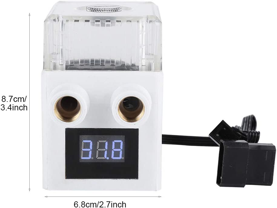 Tosuny Water Cooling Pump Black Computer Water Cooled Heat Dissipation Set,Three-Phase PC Temperature Display Integrated Water Cooling Pump.