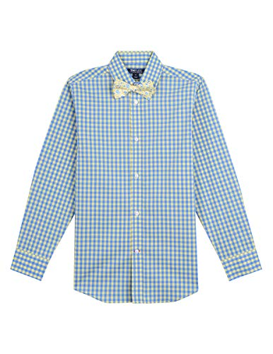 Tommy Hilfiger Boys' Big Long Sleeve Dress Shirt with Bow Tie, Pale Banana, 12 (Tie Set Tommy Hilfiger)