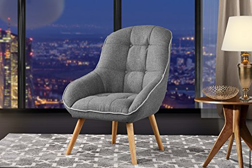 Accent Chair for Living Room, Upholstered Linen Chairs with Tufted Button Detailing and Natural Wooden Legs (Light Grey) For Sale