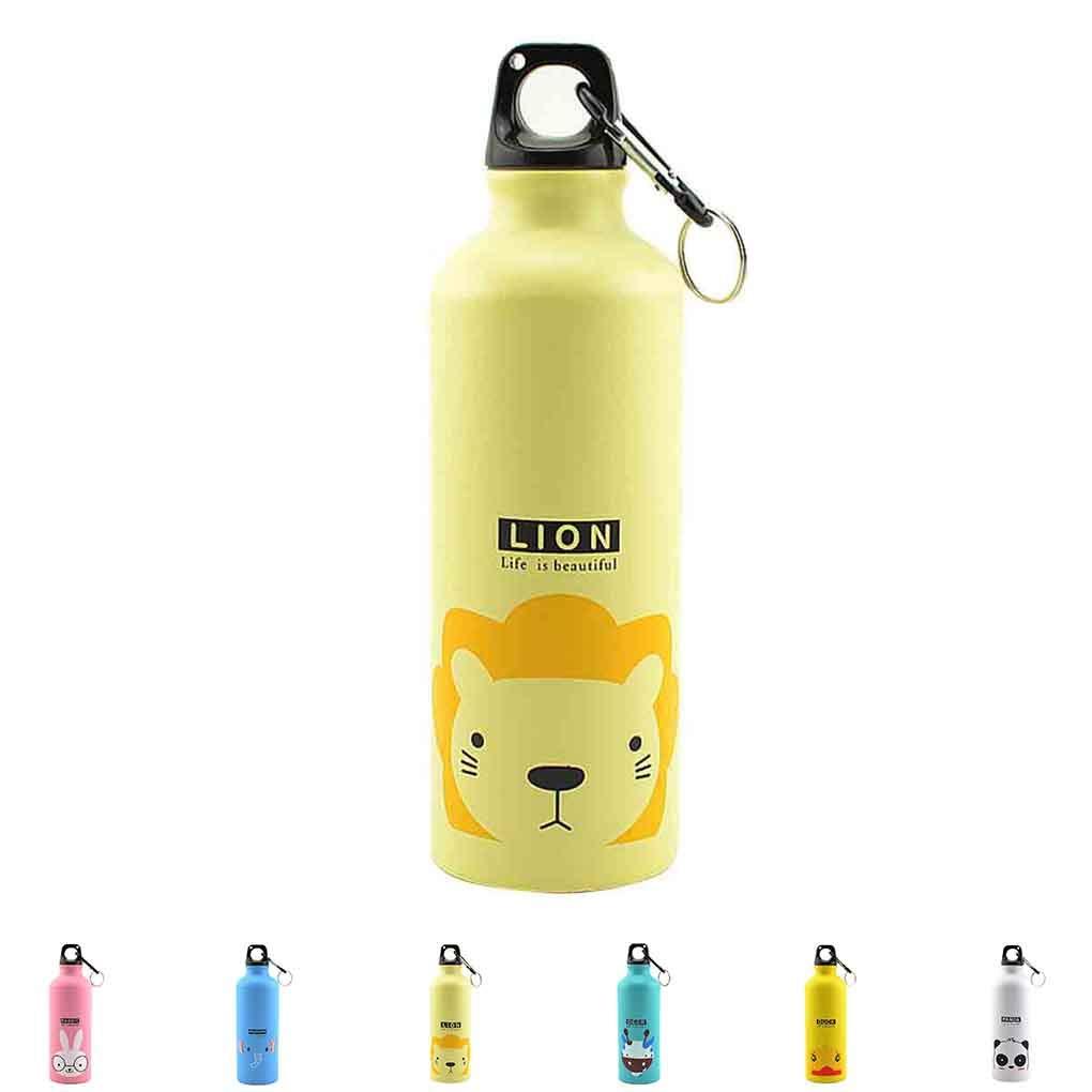 censhaorrme 500ml Beaux Animaux en Plein air Sports Bottle Portable Bouteille en Alliage daluminium Enfants Eau Motif Cartoon Animaux Kettle