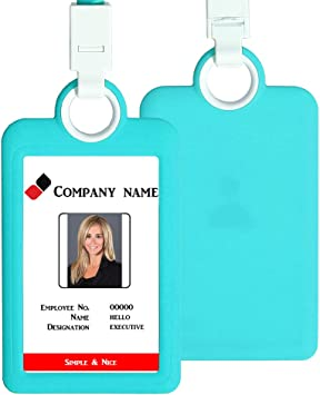 Horizontal ID Card Badge Holder Case Card Holder with Lanyard Neck Strap Heavy Duty ID Card Business Card Offices Supplies for Office Company Employee School Student Bus Pass Name Tag Card Holder Green