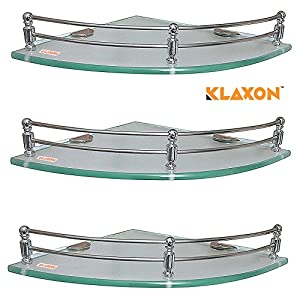 Klaxon Premium Transparent Glass Shelf for Bathroom/Wall Shelf/Storage Shelf (12×12 Inches – Pack of 3)