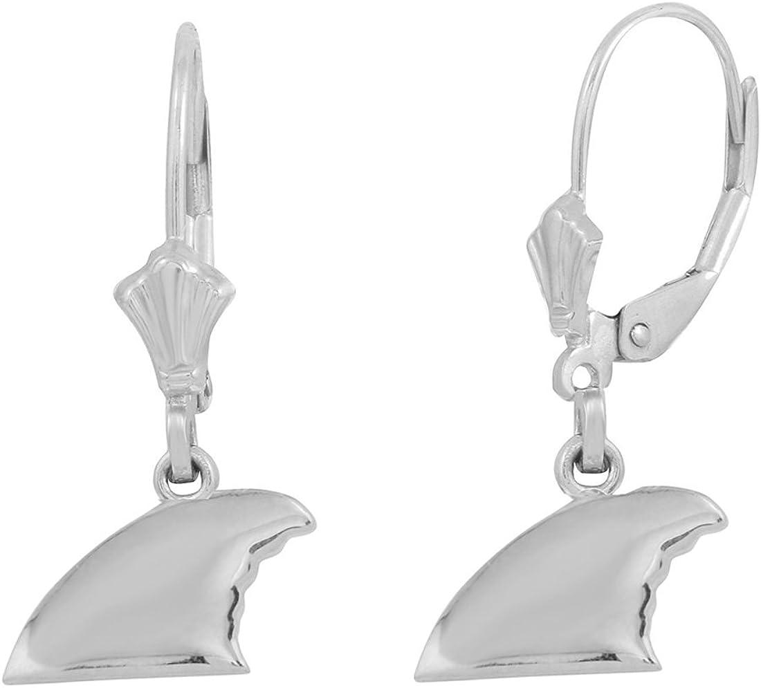 High Polish 925 Sterling Silver Shark Fin Dangle Earrings