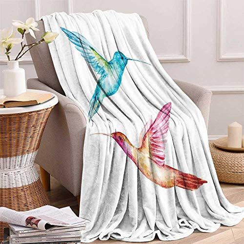 maisi Watercolor Digital Printing Blanket Colorful Aquerelle Hummingbirds with Brush Marks Effect Avian Animal Design Summer Quilt Comforter 62