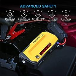 VicTsing   800A   Peak 18000mAh Car Jump Starter Power Bank with LCD Screen, LED Flashlight, Warning Light, Compass,Dual USB Charging