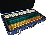 American Mah Jongg Set by White Swan – 166 Ivory Colored Engraved Tiles – 4 x All-In-One Rack/Pushers – Aluminum Case - Blue