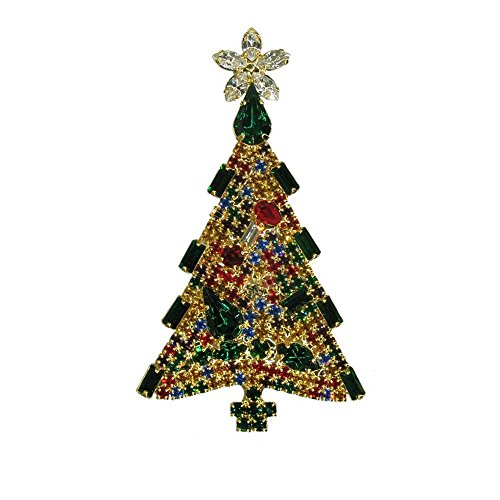 Christmas Swarovski Tree Brooch (Hand Soldered with Swarovski Crystals Christmas Tree Vintage Inspired Holiday Gift Brooch pin Handpainted RSP3011)