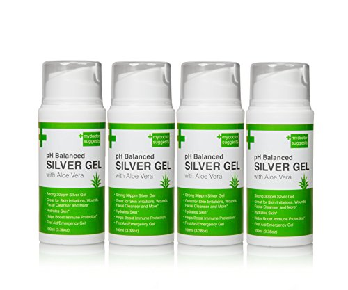 First Aid Silver Gel: pH Balanced Silver Gel with Aloe Vera - Strong 30ppm Silver Gel in a 3.38oz Easy Pump Container: Use for Cuts, Scrapes, Burns, Wound Care and More (4)