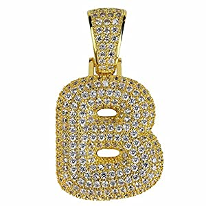 HECHUANG Micropave Simulated Diamond Iced Out Bling Custom Bubble Letters Pendant with Rope Chain