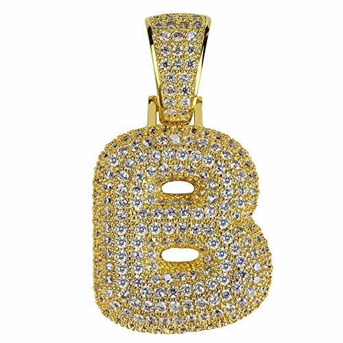 HECHUANG Micropave Simulated Diamond Iced Out Bling Custom Bubble Letters Pendant with Rope Chain (B Gold, 24)]()