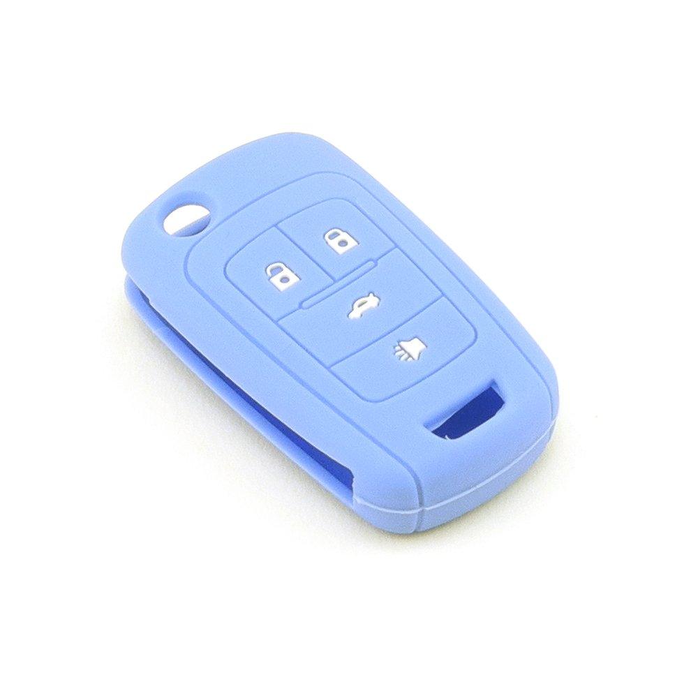iSaddle Silicone Protecting Vehicle Remote Start Key Case Cover Fob Holder for Chevrolet Camaro Cruze Equinox Malibu Orlando Sonic (Light Blue Color)