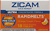 Zicam Ultra Cold Remedy RapidMelts Tablets, Orange Cream 18 ea (Pack of 8)