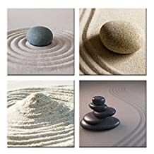 VVOVV Wall Decor - HD Canvas Modern Wall Decor Painting Zen Garden Stone And Pebbles Stack Over Giclee Print Artwork 4 Piece Still Life Pictures (12x12inchx4pcs, with frame)