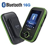 Mp3 Player with Bluetooth 16GB Clip Sport Mp3 Player Support up to 64GB Music Player-Green by Timmy